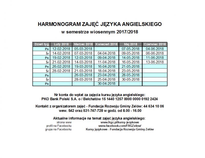 Harmonogram zajęć w semestrze wiosennym 2017/2018